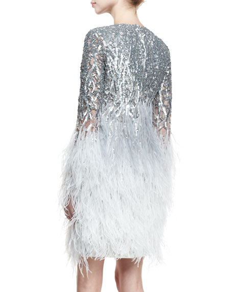 Sequined Long-Sleeve Feather-Trim Dress