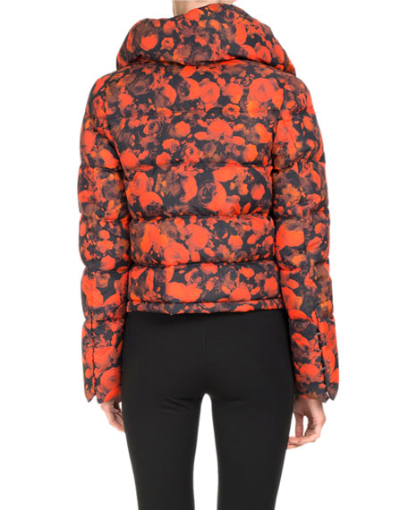 Abstract-Print Puffer Coat