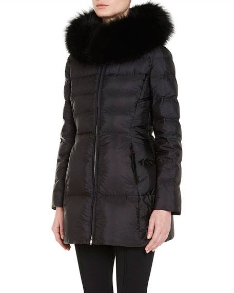 Puffer Coat w/Fox Fur Trim, Black