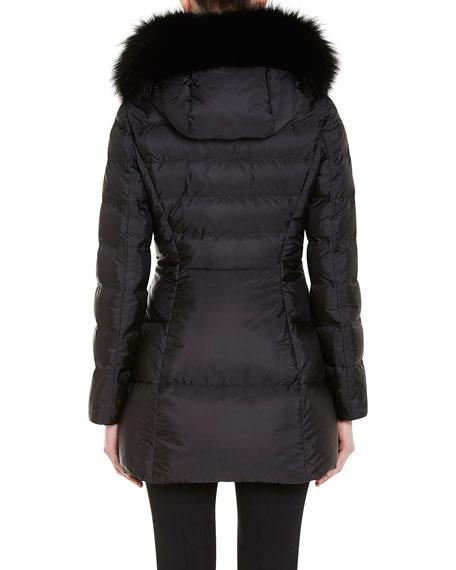 acb41fe31 Puffer Coat w/Fox Fur Trim Black