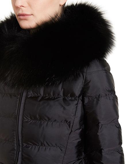 Puffer Coat w/Fox Fur Trim, Black