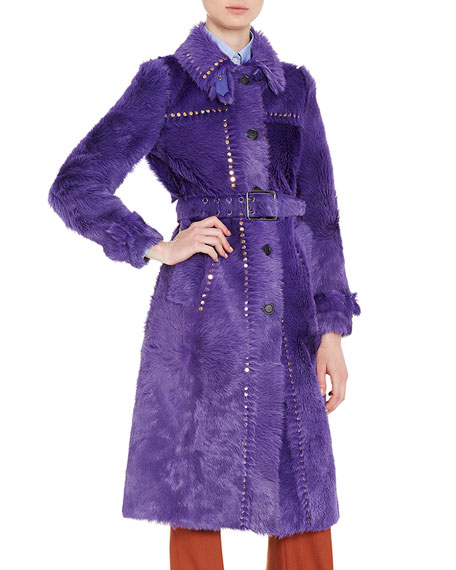 Studded Shearling Fur Trenchcoat, Purple