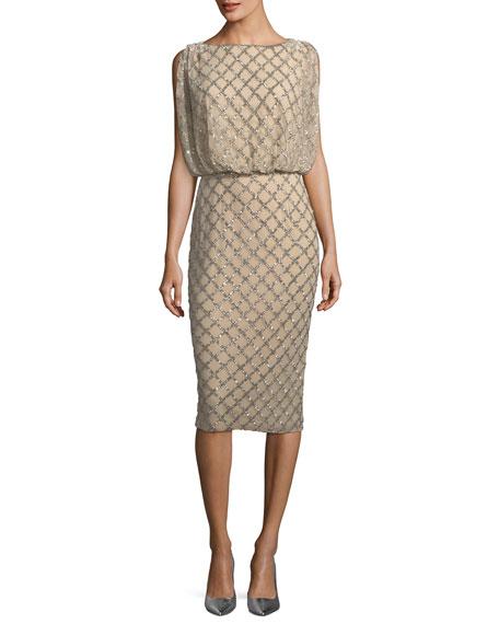 Beaded Sleeveless Cocktail Dress