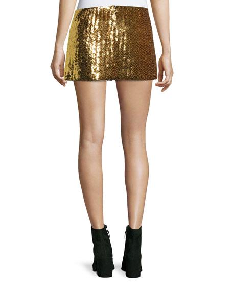Chevron Sequined Mini Skirt