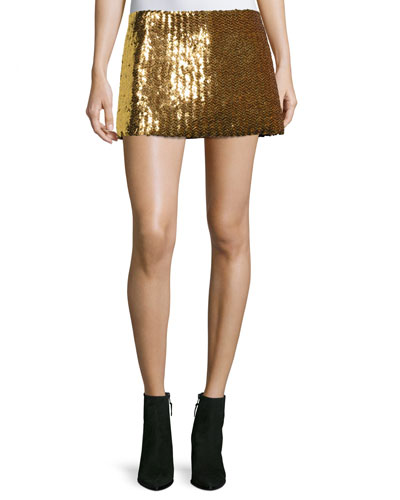 Chevron Sequined Mini Skirt