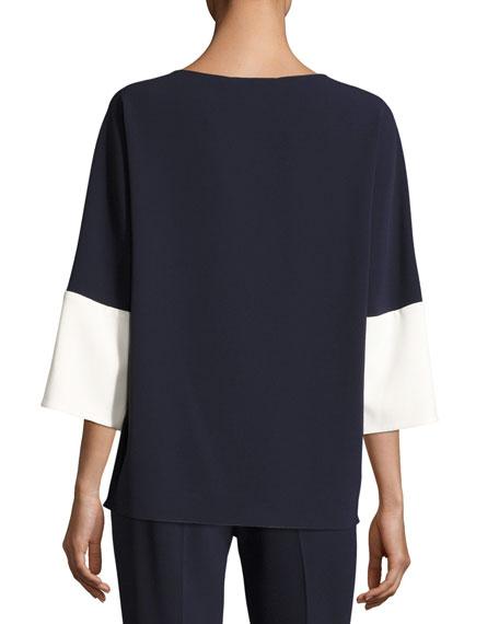 3/4-Sleeve Colorblock Tunic