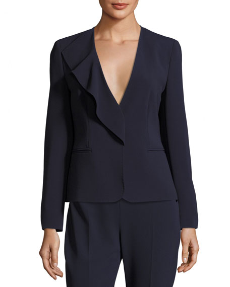 Maxmara Ruffled Wool Crepe Jacket