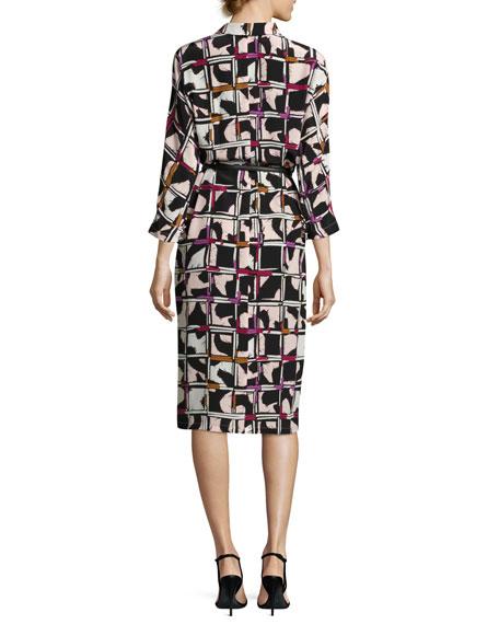 Grid-Print Silk Shirtdress