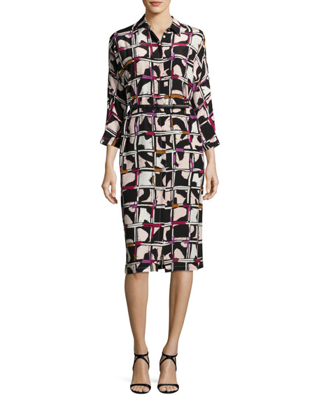 Grid-Print Silk Shirtdress