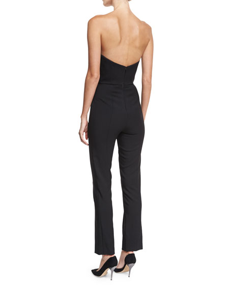 Strapless Stretch-Wool Jumpsuit w/Metallic Flower Pin