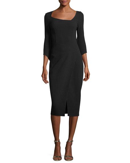 Virgin Wool Crepe Fit & Flare Minidress