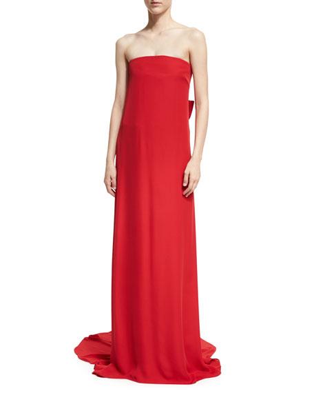 2cdcba6f2f285 Oscar de la Renta Strapless Silk Crepe Column Gown