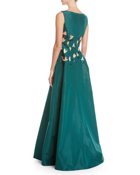 Tulip-Embroidered Silk Gown