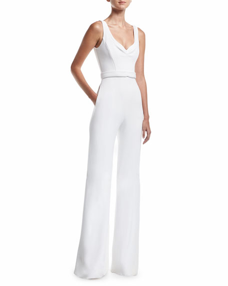 Sleeveless Crepe Wide-Leg Jumpsuit