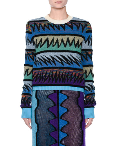Zigzag Knit Crewneck Sweater