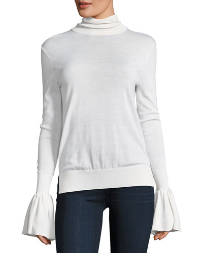 Bell-Sleeve Knit Turtleneck Sweater