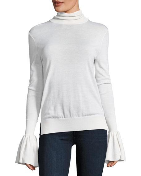 Bell-Sleeve Knit Turtleneck Sweater