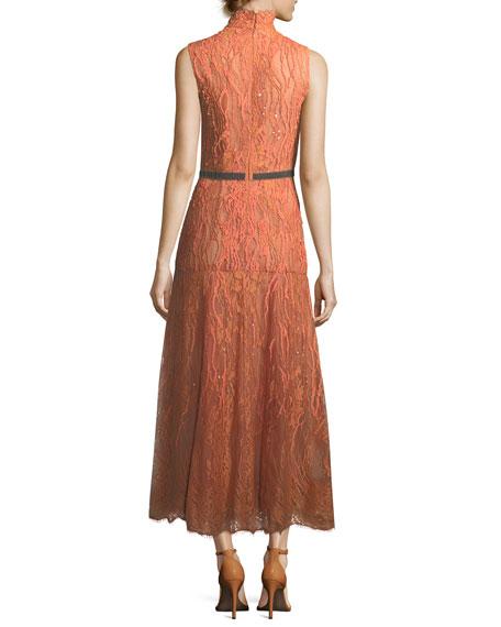 Sleeveless Beaded Turtleneck Lace Dress