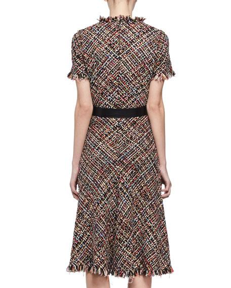 Fringed Tweed Midi Dress