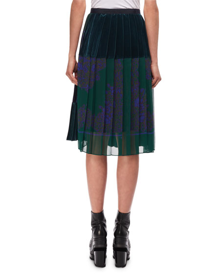 Pleated Paisley-Print Skirt