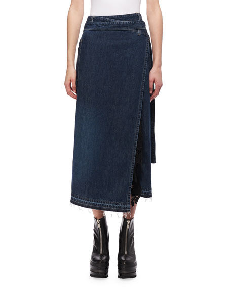 Denim Midi Wrap Skirt
