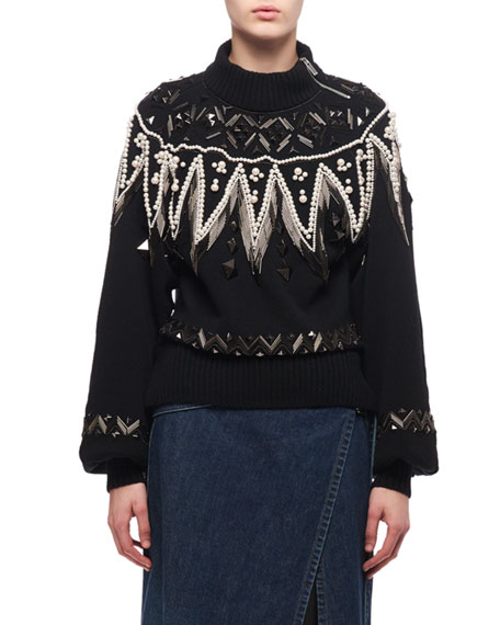 Bead-Embroidered Turtleneck Sweater