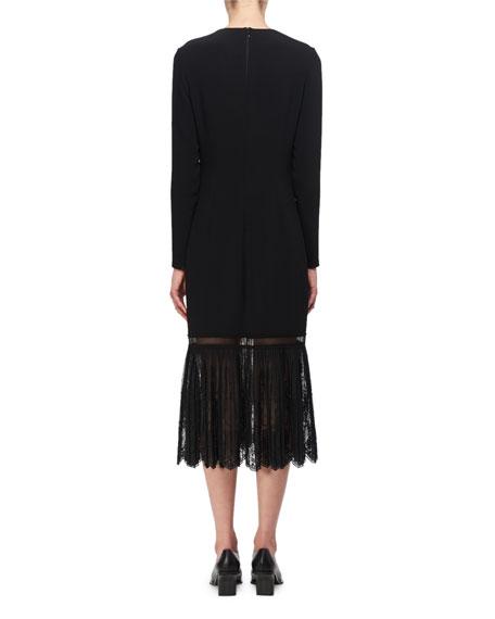 Crewneck Cady Lace-Trim Midi Dress