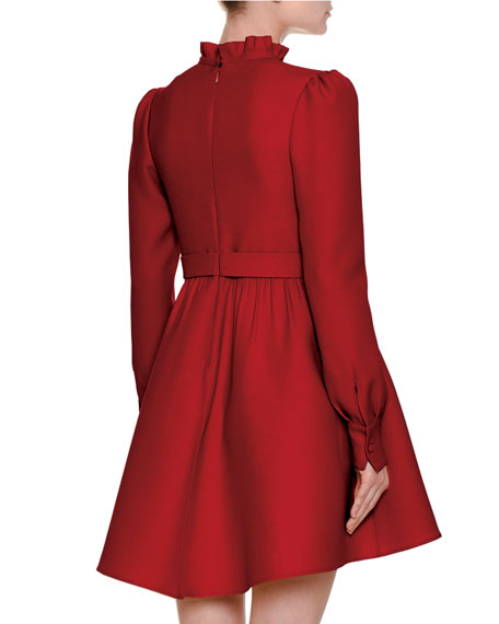 Long-Sleeve Tie-Neck Crepe Couture Dress