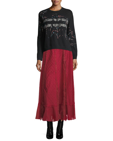 Organdy Lace Midi Skirt