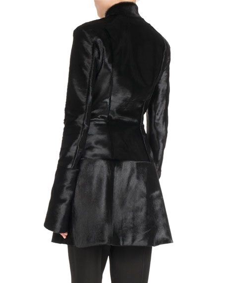 Hook-Front Calf Hair Coat Dress