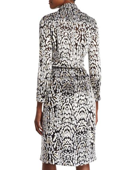 Long-Sleeve Leopard-Print Wrap Dress