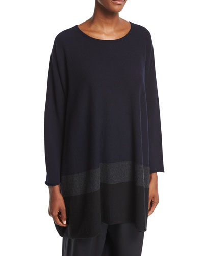 Sideways-Knit Cashmere Top