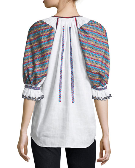 Stitch-Panel Tassel-Tie Top