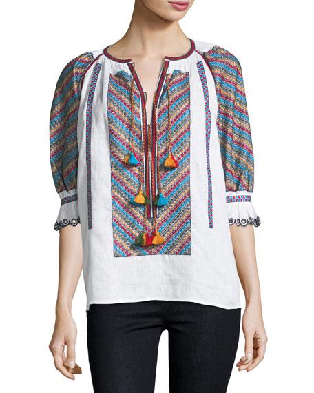 Stitch-Panel Tassel-Tie Top