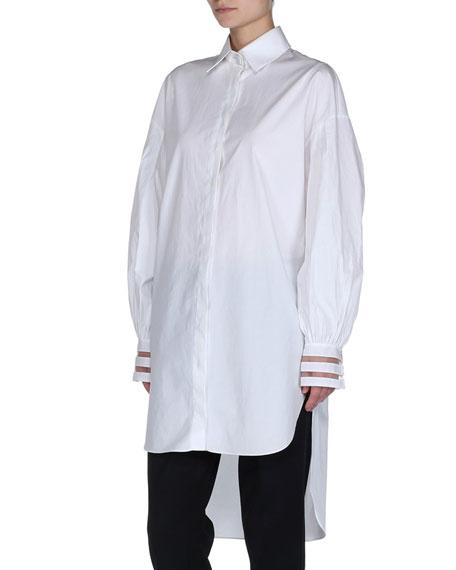 High-Low Poplin Shirtdress