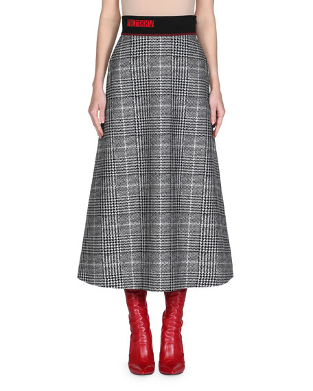 Fendi Prince of Wales Check Midi Skirt