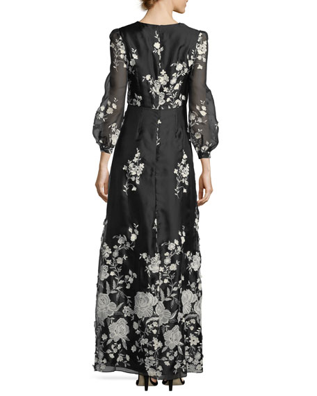 Floral-Embroidered Puff-Sleeve Gown
