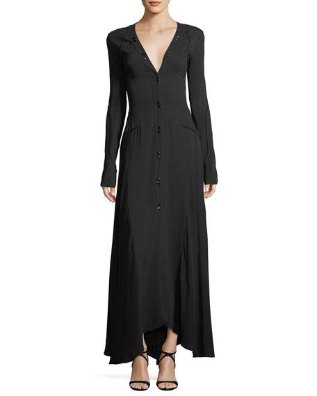 Long-Sleeve Button-Down Cady Maxi Dress