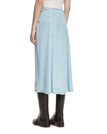 Flag of Argentina Midi Skirt, Blue/White