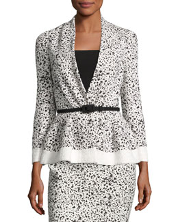 Splatter-Print Peplum Jacket, White/Black