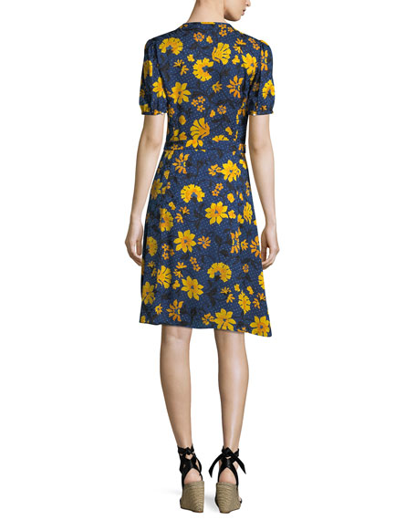 Madelena Short-Sleeve Floral-Print Dress