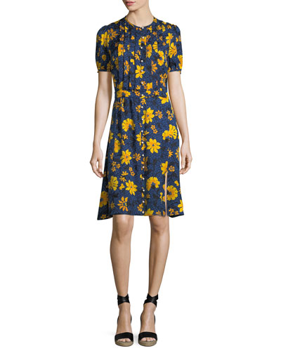 Madelena Short-Sleeve Floral-Print Dress