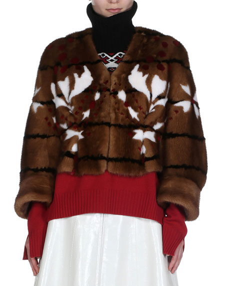 Shibori Mink Fur Cape Jacket