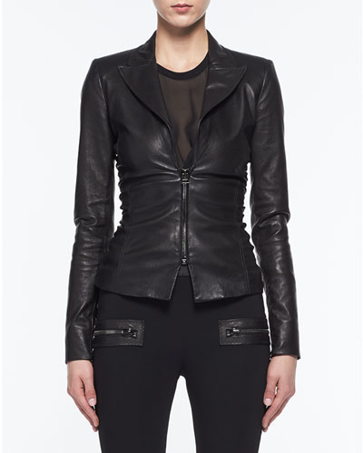 Ruched Stretch-Leather Jacket