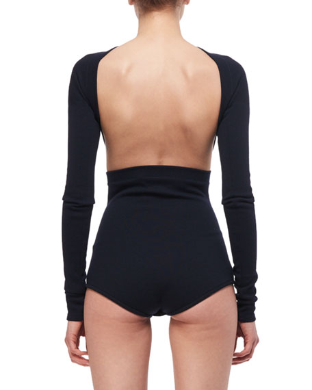 Backless Wool Jersey Bodysuit