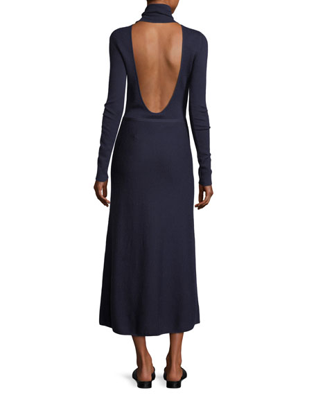 Betty Mock-Neck Open-Back Gown
