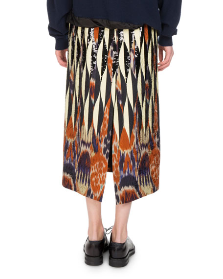 Shine Embroidered Ikat Midi Skirt