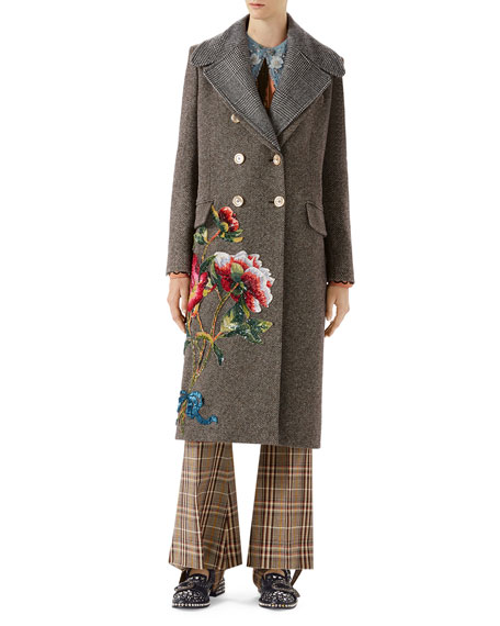 Double Breasted Wool Coat With Floral Embroidery, Multi