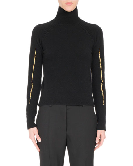 Goldstreak Knit Turtleneck Sweater