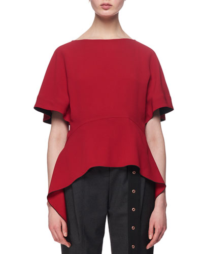 Short-Sleeve Arch-Hem Top